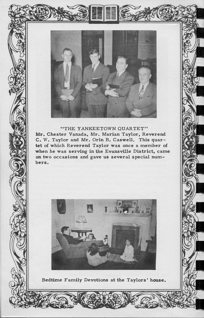 Yankeetown Quartet,  Vallonia Methodist Church Messenger of 1950. - from Fort Vallonia Museum, 5.33x8.21 bw