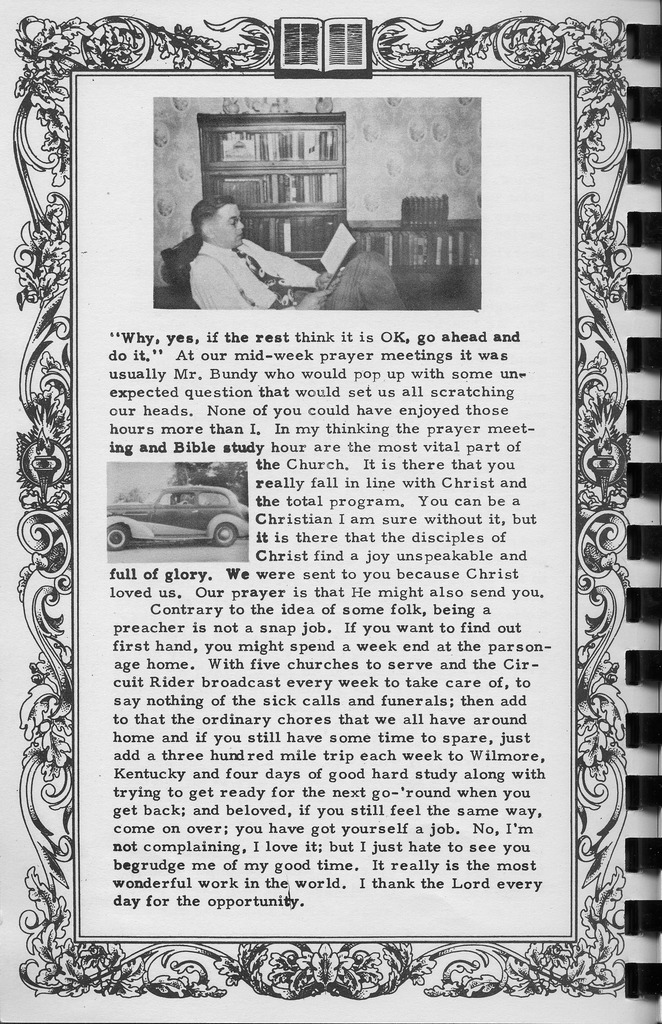 Pastor C.W. Taylor, continued. Vallonia Methodist Church Messenger of 1950. - from Fort Vallonia Museum, bw 5.29x8.19