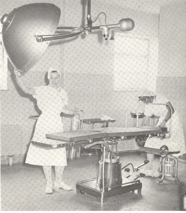 One of three surgeries in the new wing. Nurses Marilou Johnson and Jean Donahue are pictured. - Tom Melton - Arvin Folks Magazine, July-August, 1957