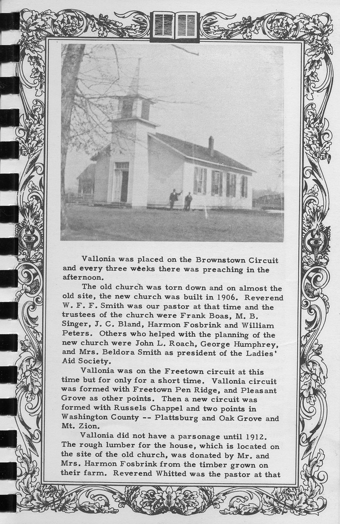 Church history, continued, Vallonia Methodist Church Messenger of 1950. - from Fort Vallonia Museum, 5.29x8.17 bw