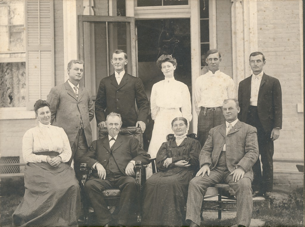 Kasting family group 1906, Standing L-R: William, George, Kathryn Brackemyre, Ernest, and Louis, Seated L-R: Deana Kasting Pfaffenberger, Fredrick Henry and Doris Borcherding Kasting, John.