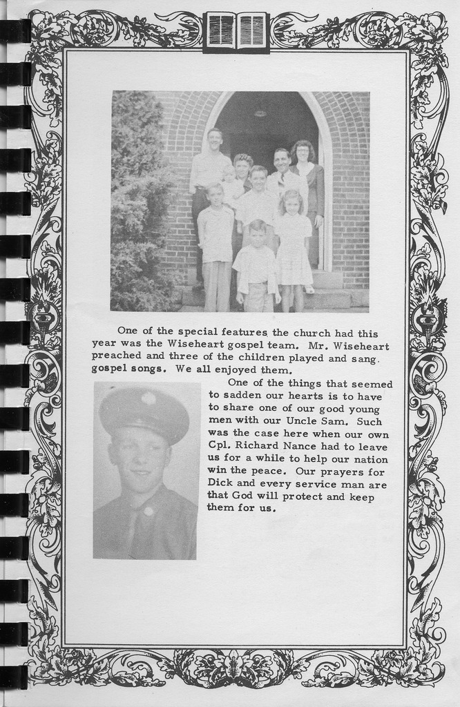 Wiseheart Gospel Team and Richard Nance, Vallonia Methodist Church Messenger of 1950. - from Fort Vallonia Museum, bw   5.33x8.21