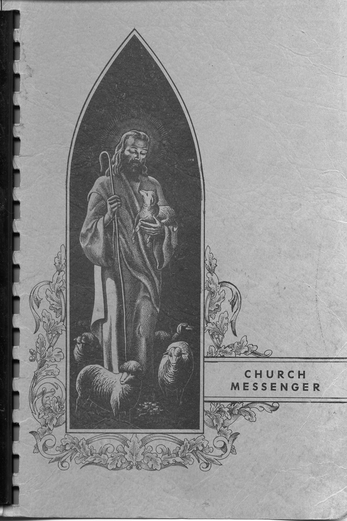 Cover of the Vallonia Methodist Church, Vallonia. Church Messenger is the history of the Vallonia Methodist Church in 1950. Given to the museum by Bruce and Gail Browalski. Copyright 1951 by Walsworth Bros., Marceline, MO. - from Fort Vallonia Museum, 5.31x8.17 bw