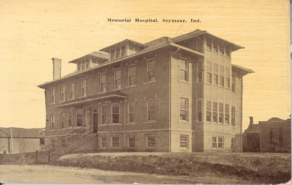 Schneck Memorial Hospital, Seymour, IN, in 1912  - from Ida and Kenny Wehmiller  bw 5.41x3.42