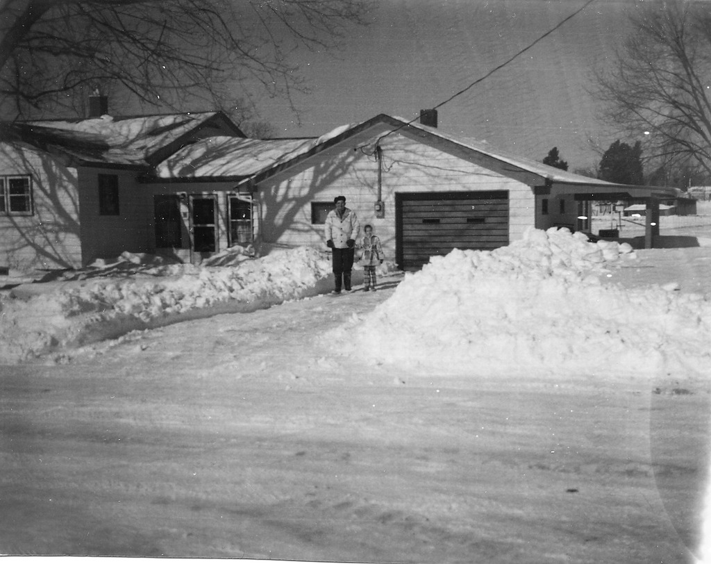 Blizzard of 1978, Jan. 26, Bud Cornett and Robin, picture taken Jan 29, Freetown, IN. - from Winfred (Bud) Cornett, bw 3.77x2.94