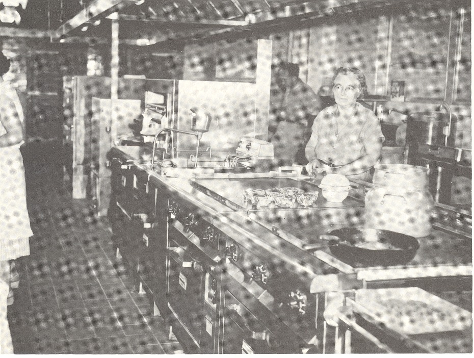 In the hospital kitchen. Mrs. Ellie Bright in the foreground, Bill Boley in the background - from Tom Melton - Arvin Folks Magazine, July-August, 1957