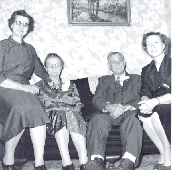 Ernest and Elizabeth Miller Kasting on their 50th Wedding Anniversary on 2-19-57. L: Opal Kasting, on R: Thelma Kasting Trimpe.