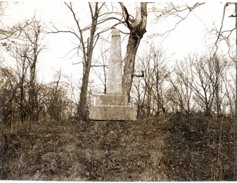Tipton Island Marker, photo taken on 12-17-75 - Jackson County Historical Society
