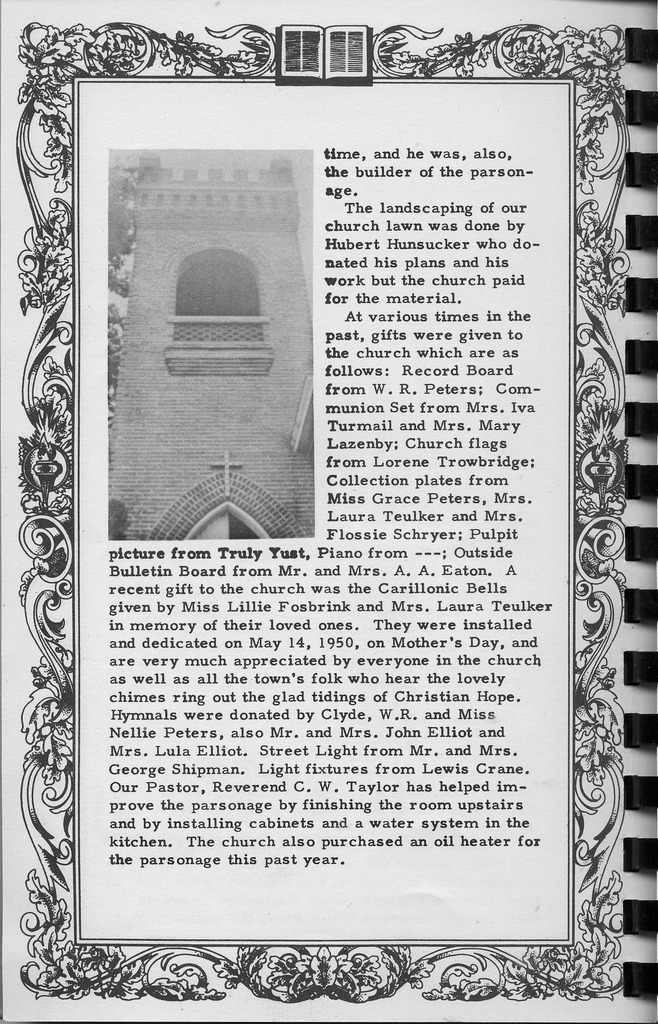 Church history, continued, Vallonia Methodist Church Messenger of 1950. - from Fort Vallonia Museum,  5.29x8.23 bw