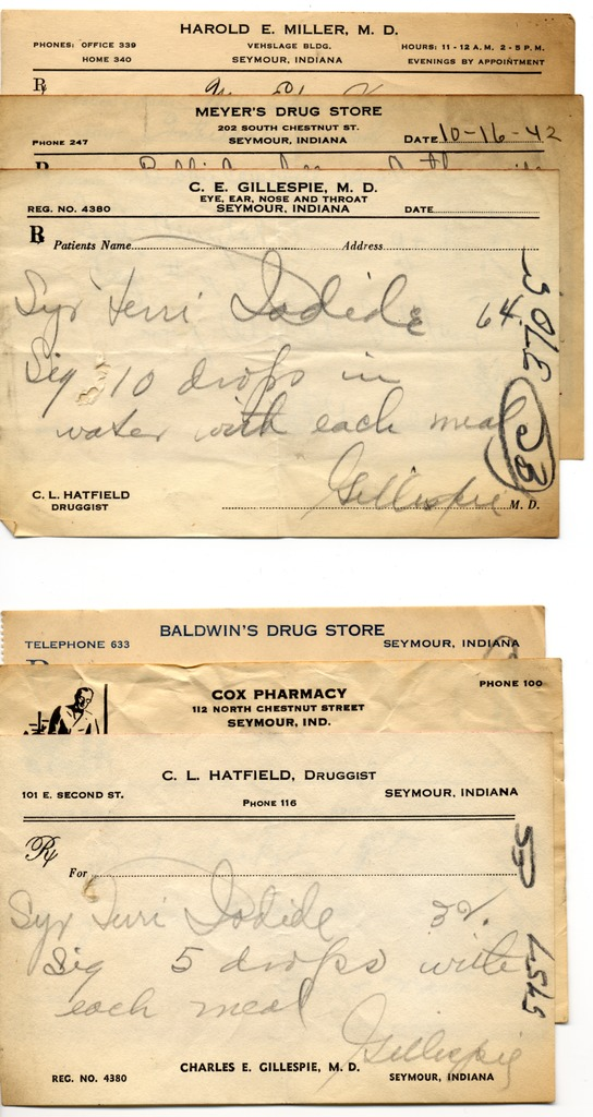 RXs - Seymour Pharmacy and Cartwright Pharmacy, Crothersville. Given by wife Hyla Cartwright - from Jackson County Historical Society