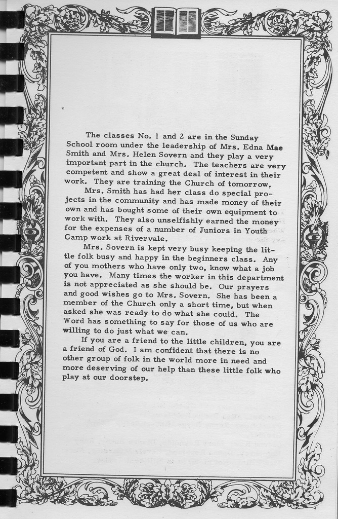Story of Sunday School Classes 1 and 2,  Vallonia Methodist  Church Messenger of 1950. - from Fort Vallonia Museum, 5.31x8.14 bw