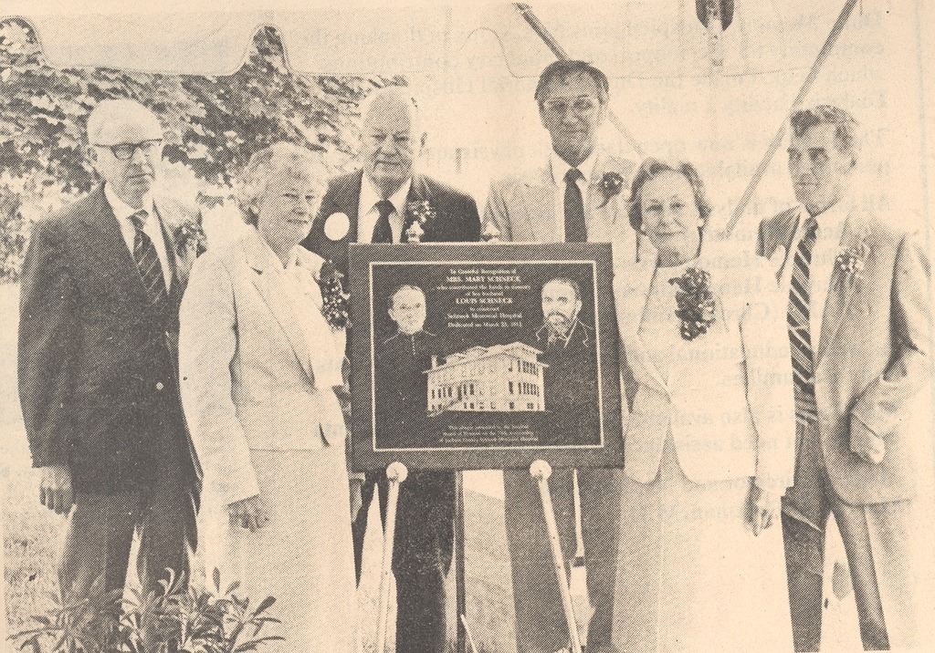 Hospital Funders Descendants honored. - from Polly Schneck, bw 6.39x4.46