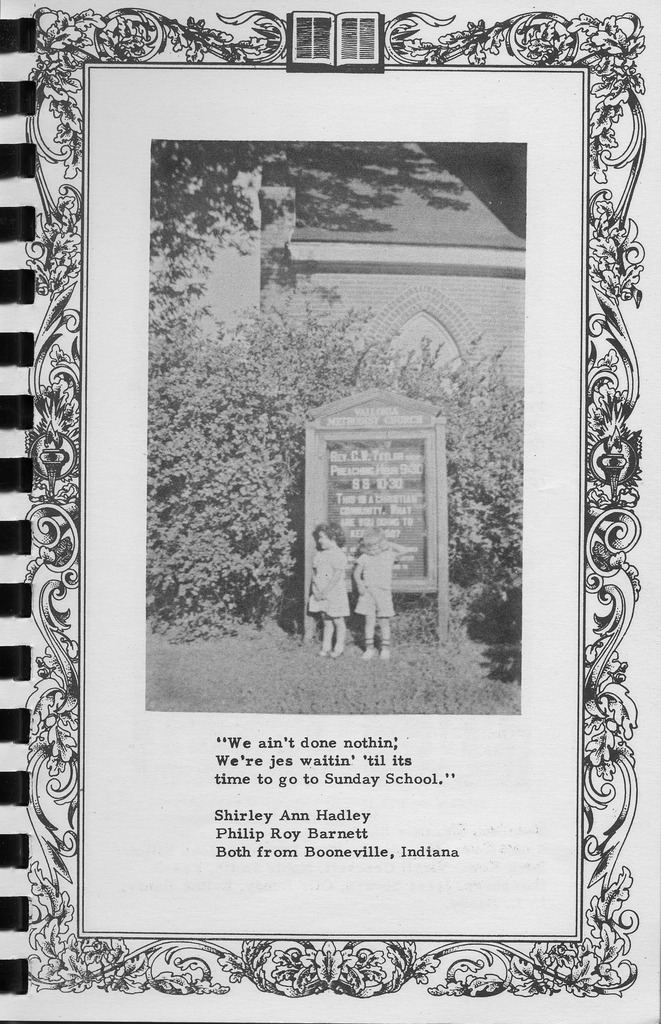 Two children and Methodist Church sign at Vallonia, Vallonia Methodist Church Messenger of 1950. - from Fort Vallonia Museum, 5.27x8.17 bw