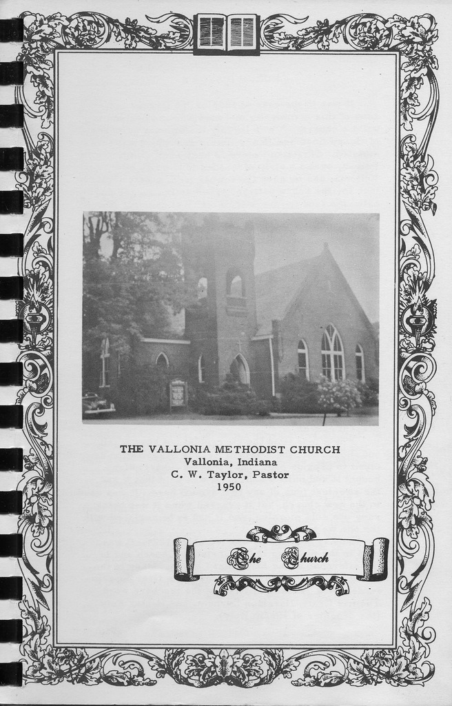 Picture of the Vallonia Methodist Church from the Church Messenger of 1950 - from Fort Vallonia Museum, 5.27x8.23 bw