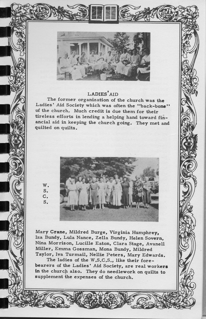 Ladies Aid and WSCS,  Vallonia Methodist Church Messenger of 1950. - from Fort Vallonia Museum, 5.33x8.23 bw