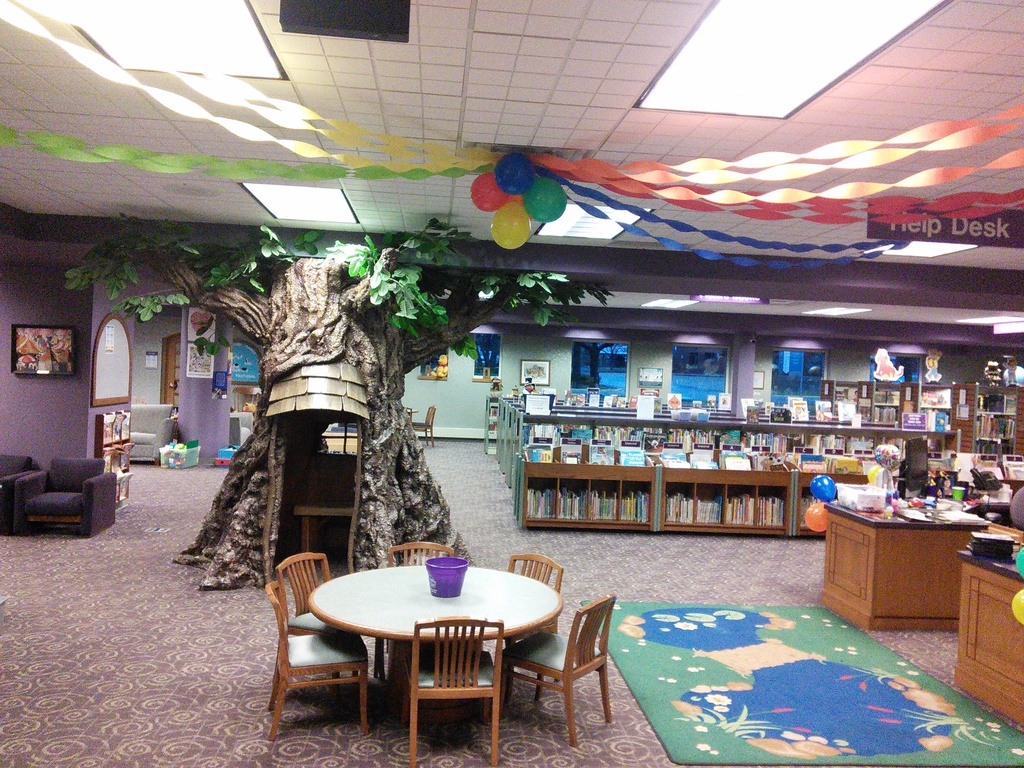 Children's Department decorated for the library's 110th birthday