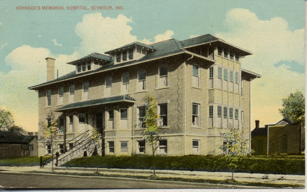 Schneck Memorial Hospital, Seymour. established in 1910. In 1940 renamed Jackson County Schneck Memorial Hospital - from Garvin Jennings