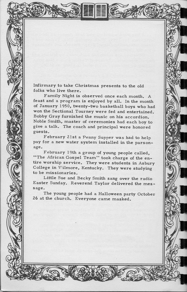 Calendar of Events, continued.  Vallonia Methodist Church Messenger of 1950. - from Fort Vallonia Museum,  5.27x8.23 bw