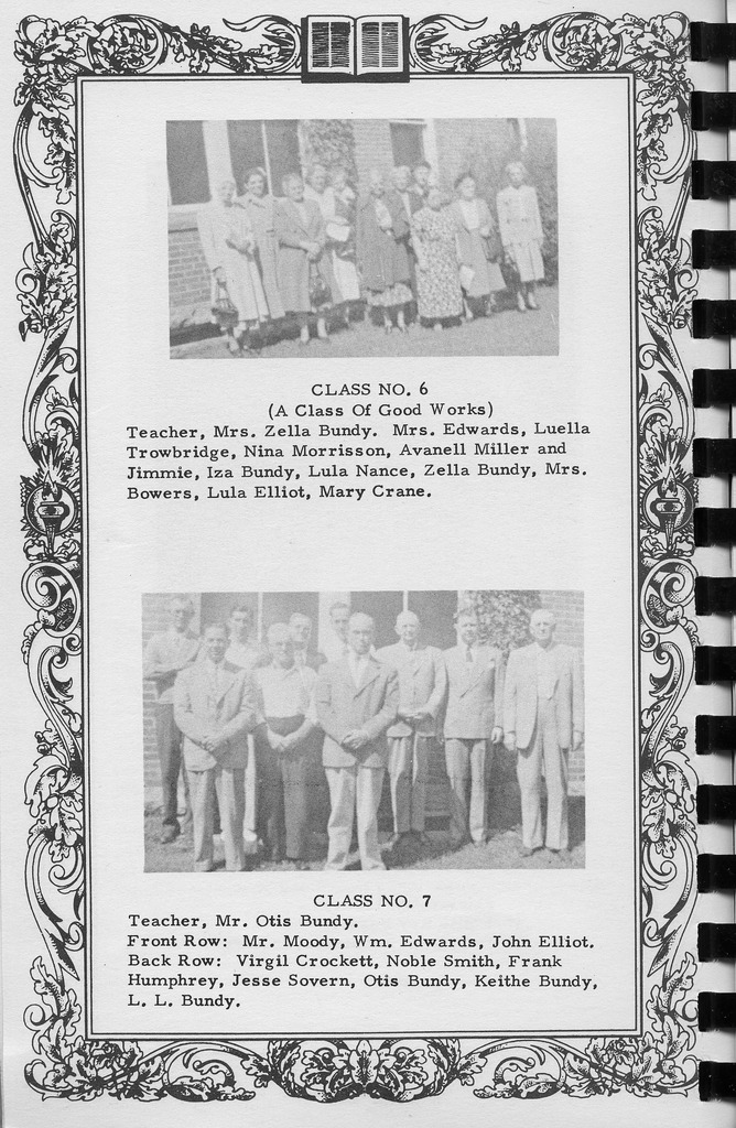 Sunday School Class 6 and 7, Vallonia Methodist Church Messenger of 1950. - from Fort Vallonia Museum, 5.31x8.14 bw