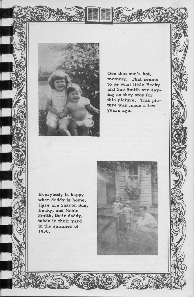 Pictures of Becky and Sue Smith and Sharon Sue, Becky, and Noble Smith. Vallonia Methodist Church Messenger of 1950. - from Fort Vallonia Museum, 5.28x8.23 bw