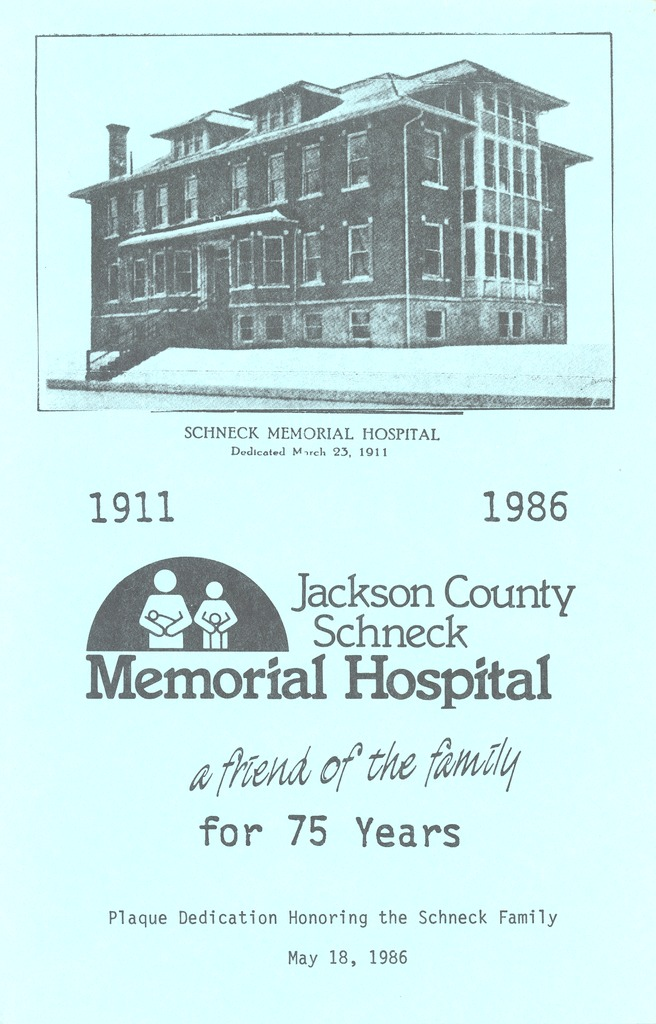 Dedication pamphlet of Hospital 1911-1986 - from Polly Schneck, bw 5.43x8.48