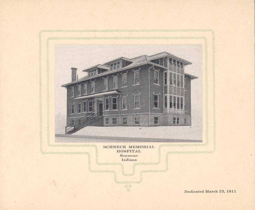 Schneck Memorial Hosp. Dedication 1911 - from Polly Schneck, bw 5.73x4.72