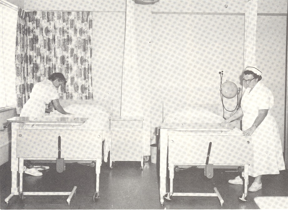 A four-bed unit in the new wing. Nurse Ramona Boley and Clara Empson are pictured. - from Tom Melton - Arvin Folks Magazine, July-August, 1957