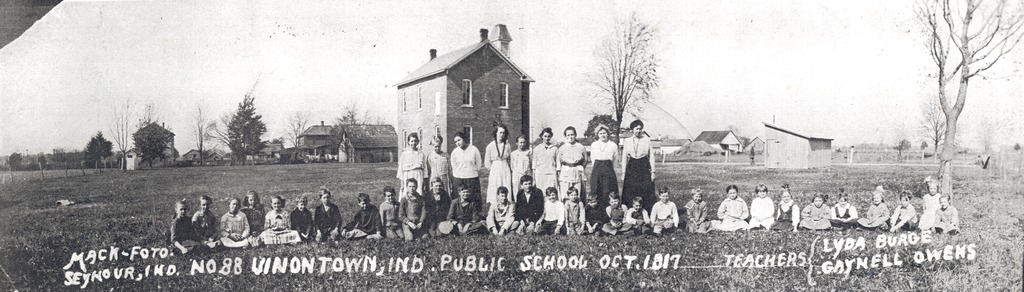 Marling School, 1917, Uniontown, Indiana. School named for Walter and Spencer Marling, 18-19 years old, killed in Civil War in 1861. - from Sara Marling Lucas, bw 13.33 x 3.80