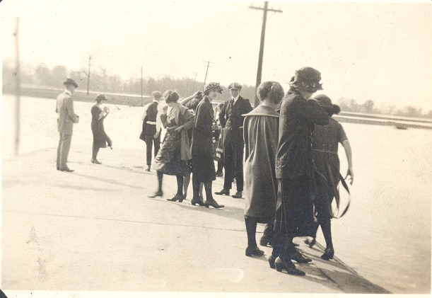 Flood at 6th Street Road in 1922, possibly in Seymour - from Florence McClure,  bw 3.05x2.1