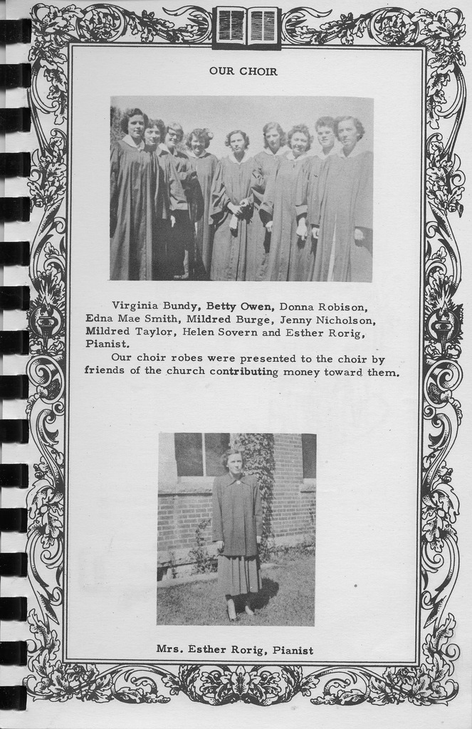 Our Choir and pianist, Vallonia Methodist Church Messenger of 1950. - from Fort Vallonia Museum, 5.31x8.21 bw