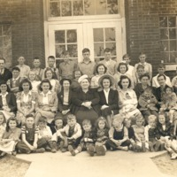 Lutheran Church, began in 1943, meeting at the Sparksville School with Pastor Rev. Ben Shoemaker. The people are unidentified. - from Oguerita McKinney, bw 9.48x6.47