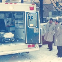 Hospital Folks with Ambulance - from the Seymour Tribune, C 8.65x5.88