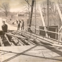 Building bridge -men unknown- Indiana State Highway - from the Seymour Tribune