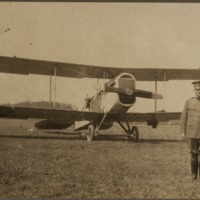 Unidentified Man with Biwing Plane - from Jackson County Historical Society