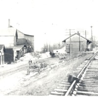 Depot at Sparksville looking east to west. - from Sara Marling Lucas, bw 4.54 x 3.15