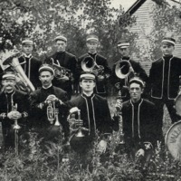 The Vallonia Band, Vallonia, IN, published by D.C. Plummer Band Leader, Vallonia, IN. postcard, donated by Audra and Mildred Humphrey. - from Fort Vallonia Museum,  5.55x3.2 bw