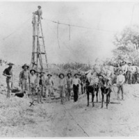 Crew building first bridge at Sand Creek in 1883 . (Gail Helt picture) - from Elaine Allman, 9.75x7.5 bw