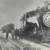 Local crew on freight train at Medora c 1910-1920 - from Sara Marling Lucas, bw 4.71 x 3.04