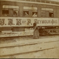 Rail car with lady late 1800s - from Jackson County Historical Society