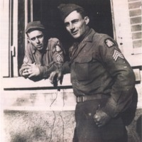 George Polly and Sgt. Francis Hearth in Italy in 1944 during WWII. - from George Polly,  bw 8.02x8.71