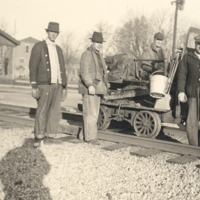 Medora Section Crew - Ralph Poore, Howard Beavers, Frank McKinney (section foreman), (Ham) Davis, ca 1920 - from Oguerita McKinney, bw 2.91x2.11