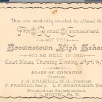 Brownstown High School Graduation, 5th Annual Commencement - from R.R. (Phil) Robertson, bw 4.37x3.34