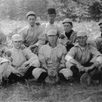 Freetown Baseball team. Back row: Al Thompson, John Sprague, Clark Lucas, Curt Mann, ?. Front: ?, Charley Hayes, Virgil McKinney, ? , Red Forgey. - from Winfred (Bud) Cornett, bw 6.82x10.61