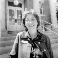 Julia Aker in front of Seymour Public Library