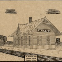 Milwaukee Rail Road Station in Seymour, drawing by Kevin Greene - from Jackson County Historical Society