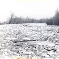 Ice jam on White River at US 50 - from Jackson County Historical Society