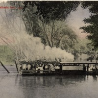 River scene of boat crossing, Postcard sent from Vergil Humphrey on Jan. 23, 1903, addressed to Rebecca Humphrey, Vallonia, Rt 2. Postcard photographed by Art Mfg. Co., Amelia, Ohio. Shared by Audra and Mildred Humphrey. - from Fort Vallonia Museum, 5.53x3.44 color