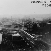 Business district of Medora, IN, - from Paul Carr, 4 1/2 x 6, bw