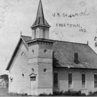 United Brethren Church, Freetown, IN, destroyed by fire in 1914. - from Freida Duchaine,  bw 4.79x3.42