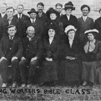 Willing Workers Bible Class at Russell Chapel Church in about 1920. - from Doris Lee, bw 6.32x3.87